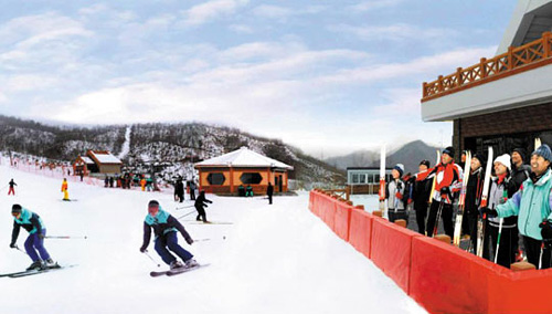 This apparently doctored picture published on Friday in North Koreas Rodong Sinmun daily shows visitors skiing at a ski resort in Masikryong.