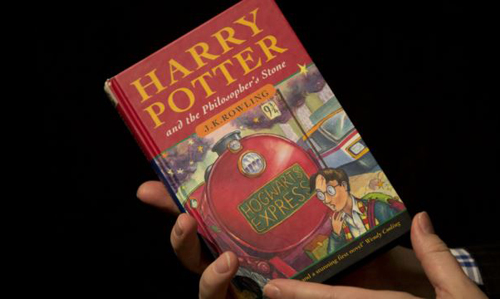A photo of the first edition copy of the first Harry Potter book
