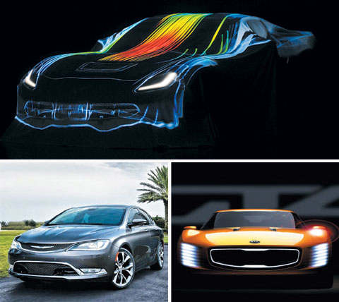Top: GMs Chevrolet Corvette Stingray C7 released at last years Detroit Auto Show /Bloomberg; Bottom left: Chryslers 2015 200 midsize sedan /Courtesy of Chrysler; Bottom right: An artists impression of Kias GT4 Stinger /Courtesy of Kia Motors