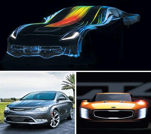Top: GMs Chevrolet Corvette Stingray C7 released at last years Detroit Auto Show /Bloomberg; Bottom left: Chryslers 2015 200 midsize sedan /Courtesy of Chrysler; Bottom right: An artists impression of Kias GT4 Stinger /Courtesy of Kia Motors