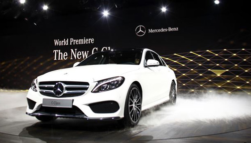 The new Mercedes-Benz 2015 C-Class is displayed during a private preview for media at the Westin Book Cadillac Hotel in Detroit, Michigan on Jan. 12, 2014, the eve of the 2014 North American International Auto Show. /Reuters