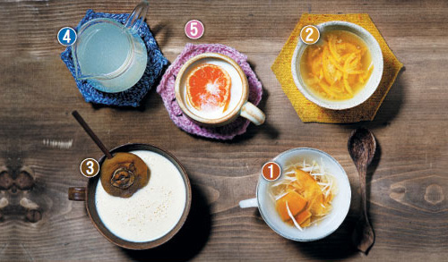 1. Bellflower root and quince tea; 2. Spring onion and citron tea; 3. Dried persimmon