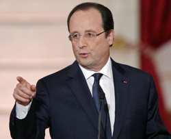 French President François Hollande at a news conference on Jan.14, 2014. /AP