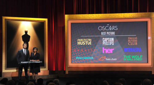 From left, Chris Hemsworth and President of the Academy Cheryl Boone Isaacs announce the Academy Awards nominations for Best Picture at the 86th Academy Awards nomination ceremony in Beverly Hills, California on Jan. 16, 2013. /AP