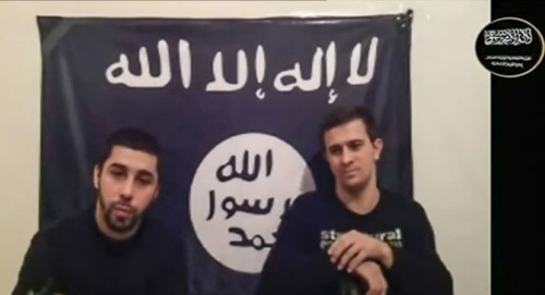 Men claiming to be from an Islamist militant group identifying itself as Vilayat Dagestan speak in this still image taken from video posted on the Internet on Jan. 20, 2014. /Reuters