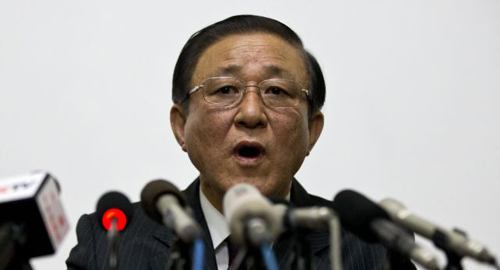 North Korean Ambassador to China Ji Jae-ryong speaks at a press conference held at the North Korean Embassy in Beijing, China on Jan. 29, 2014. /AP