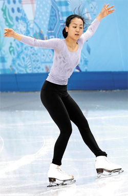 Mao Asada of Japan practices at the Iceberg Skating Palace in Sochi on Thursday morning.