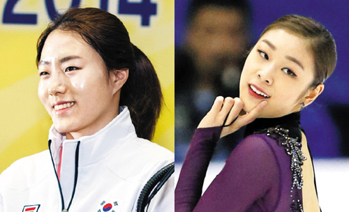 Lee Sang-hwa (left) and Kim Yu-na