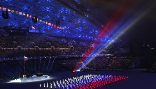 The colors of the Russian flag are seen during the opening ceremony of the 2014 Sochi Winter Olympics on Feb. 7, 2014. /Reuters