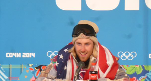 U.S. snowboarder Sage Kotsenburg addressing news conference after winning the first gold medal at the Sochi Olympics on Feb. 8, 2014
