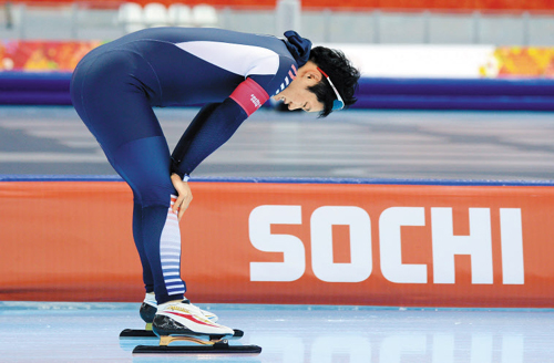 Mo Tae-bum reacts after finishing the mens 1,000-m speed skating final at the Adler Arena Skating Center during the Sochi 2014 Winter Olympics on Wednesday in Sochi, Russia. /News 1