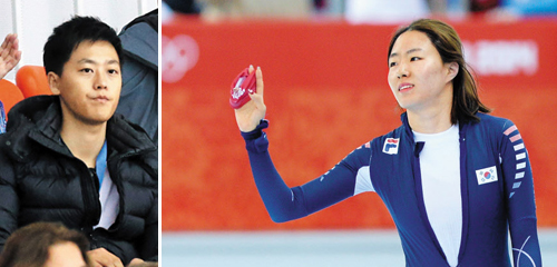 Left: Speed skater Lee Sang-hwas boyfriend Lee Sang-yeop watches at the Adler Arena Skating Center in Sochi on Thursday. Right: Lee Sang-hwa waves after finishing her 1,000-m race at the Adler Arena Skating Center in Sochi on Thursday. /News 1