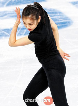 Kim Yu-na practices at the Iceberg Skating Palace in Sochi, Russia on Sunday.