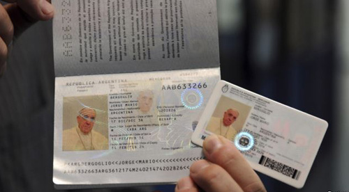 Pope Francis new national identification card and passport are seen in this undated handout photo taken by Argentinas Interior Ministry and distributed on Feb. 17, 2014. /Reuters