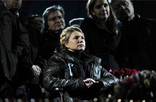 Newly freed Ukrainian opposition icon, former Prime Minister Yulia Tymoshenko delivers a speech in Kievs Independance square on Feb. 22, 2014. /AFP