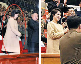 North Korean leader Kim Jong-uns wife Ri Sol-ju attends a sporting event last Tuesday wearing loose-fitting clothes (left) similar to a maternity dress she wore in October 2010 when she was pregnant. /Rodong Sinmun