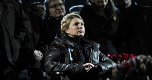 Ukrainian opposition leader Yulia Tymoshenko is seen in a wheelchair in Kyivs Independence Square on Feb. 22, 2014. /AFP
