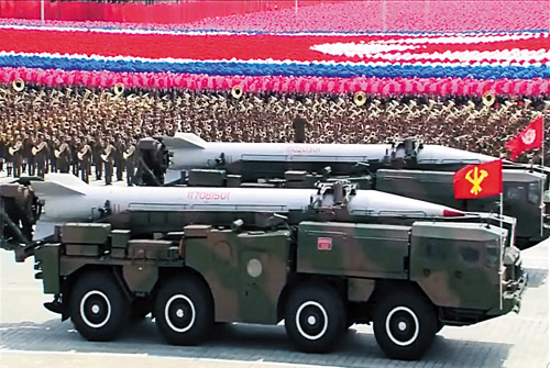 Scud missiles are shown in a military parade in Pyongyang in July 2013 (file photo).