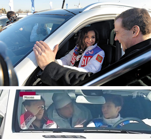 Top: Adelina Sotnikova, a figure-skating gold medalist at the Sochi 2014 Winter Olympics, in a Mercedes-Benz SUV, talks to Russian Prime Minister Dmitry Medvedev in front of the Kremlin on Thursday; Bottom: Korean-born skater Viktor Ahn, who won three gold medals in short track skating, sits in a Mercedes awarded to him.