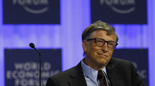 Microsoft founder Bill Gates attends a session at the annual meeting of the World Economic Forum in Davos, Switzerland on Jan. 24, 2014. /Reuters
