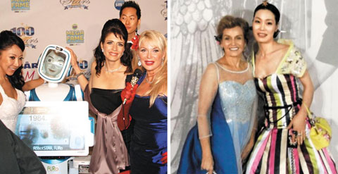 Left: Korean robot Furo poses with Hollywood actresses at a gala party for the Academy Awards at the Beverly Hills Hotel in Los Angeles, California on Sunday.; Right: Wedding consultant Jennifer Mok poses for a picture with Hollywood actress Sharon Farrell at the Dolby Theatre in Hollywood in Los Angles, California on Sunday.