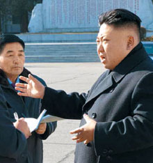 North Korean leader Kim Jong-un visits a military parts factory in Pyongyang in this photo published by the official Rodong Sinmun daily on Monday.