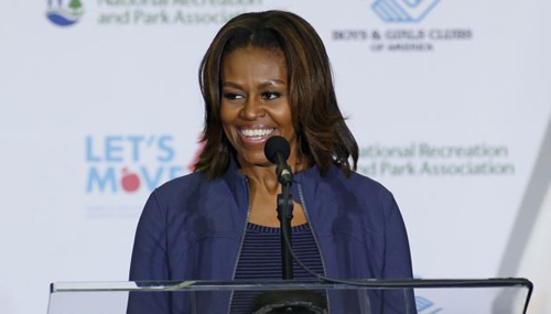First lady Michelle Obama speaks at a Miami parks and recreation center to promote her