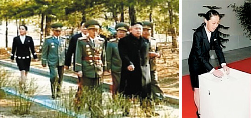 Left: North Korean leader Kim Jong-uns younger sister Yeo-jong (in circle) walks into a polling station at Kim Il-sung University to cast her ballot in elections for the Supreme Peoples Assembly on Sunday.; Right: Yeo-jong casts her vote at the polling station. /[North] Korean Central TV