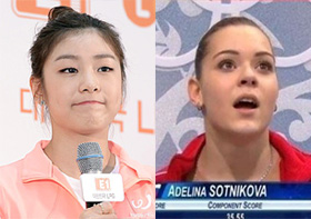Kim Yu-na (left) and Adelina Sotnikova