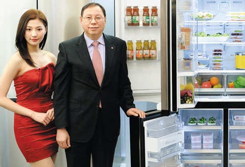 A model promotes an LG refrigerator in Seoul on Feb. 17. /Courtesy of LG Electronics
