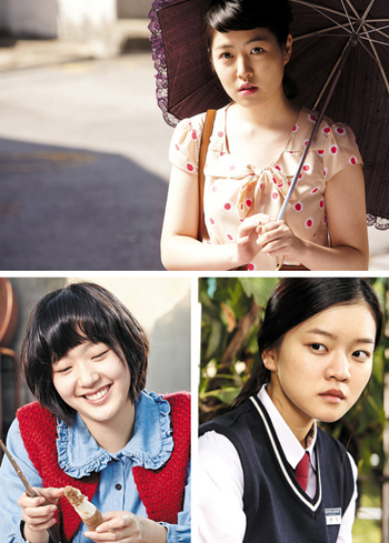 Clockwise from the top, Shim Eun-kyung, Ko Ah-sung and Kim Go-eun