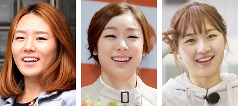 From left, Lee Sang-hwa, Kim Yu-na and Park Seung-hi