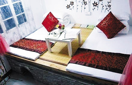 A Chinese kang or heated resting space in the home, pictured on the Baidu portal site.
