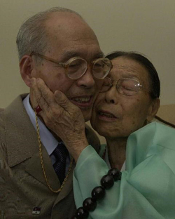 North Koreas pre-eminent mathematician Cho Ju-kyong meets his mother during family reunions in Seoul in 2000.