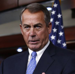 U.S. House Speaker John Boehner speaks at a news conference on Capitol Hill in Washington, D.C., on Jan. 16, 2014. /Reuters