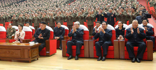 North Korean leader Kim Jong-un (second left on the front row) watches a performance on Saturday along with his wife Ri Sol-ju (left) and sister Kim Yeo-jong (second right in the second row). /Rodong Sinmun