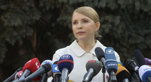 Yulia Tymoshenko is seen speaking at a news conference in Kyiv on March 27, 2014. /Reuters