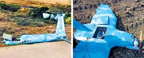 A crashed drone (left) on Baeknyeong Island on Monday and another drone (right) in Paju, Gyeonggi Province on March 24 /Courtesy of the Ministry of Defense