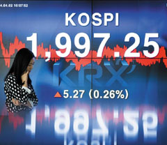 A monitor shows the KOSPI climbing to 1,997.25 points on Tuesday. /News 1