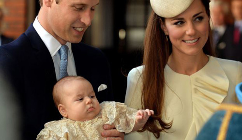 Britains Prince William, Kate Duchess of Cambridge with their son Prince George arrive at Chapel Royal in St. Jamess Palace in London for the christening of the three month-old Prince George on Oct. 23, 2013. /AP