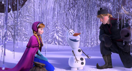 This image released by Disney shows, from left, Anna, voiced by Kristen Bell, Olaf, voiced by Josh Gad, and Kristoff, voiced by Jonathan Groff in a scene from the animated feature