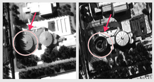 A satellite photo (left) on Google Earth in 2012 shows a building with a complete roof in North Korean leader Kim Jong-un's villa compound in Wonsan, while in another taken by South Koreas Arirang 3 in March this year the roof has gone.