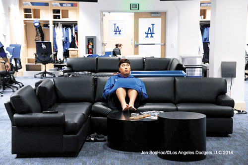 Ryu Hyun-jin of the Los Angeles Dodgers watches television in the teams locker room at Dodger Stadium in Los Angeles, California on Saturday. /Courtesy of Los Angeles Dodgers, LLC