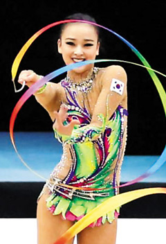 Son Yeon-jae competes in the ribbon event at the 2014 Rhythmic Gymnastics World Cup in Lisbon, Portugal on Sunday.