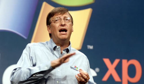In this Oct. 25, 2001 file photo, then Microsoft chairman Bill Gates speaks during the product launch of the new Windows XP operating system in New York. /AP
