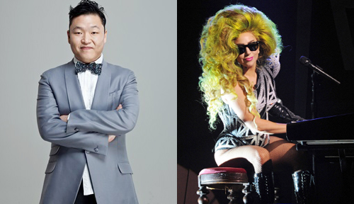 Psy (left) and Lady Gaga