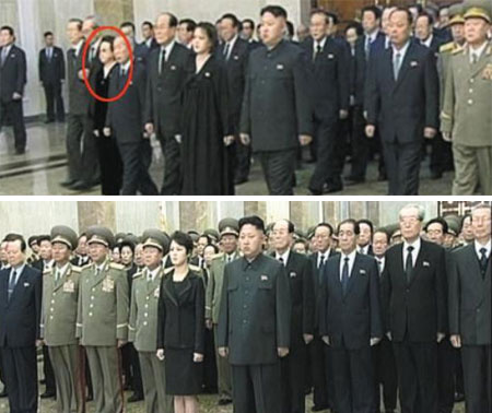 A scene in a documentary showing Kim Kyong-hui (top) and the one that replaced it. /Courtesy of the Unification Ministry