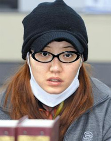 Hong Ga-hye is being questioned at a police agency in Muan, South Jeolla Province on Monday.