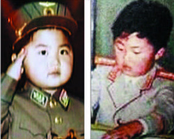 Childhood photos of North Korean leader Kim Jong-un released by the [North] Korean Central TV on Monday.