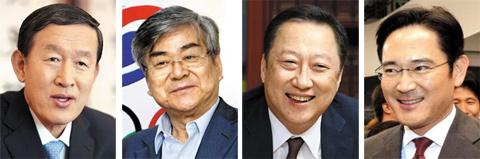 From left, Huh Chang-soo, Cho Yang-ho, Park Yong-man and Lee Jae-yong